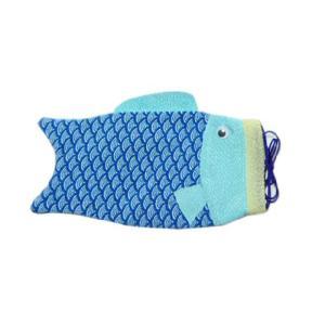 ちりめんバック 巾着鯉青 袋物 RY|familiamia