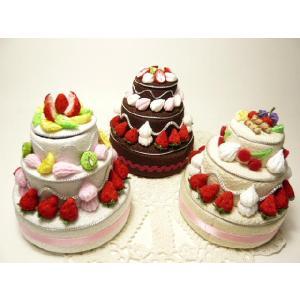 ちりめん細工 フルーツいっぱいの丸いデコレーションケーキ3段小物入れ ギフトボックス フェイクスイーツ なんでもいれちゃうハッピーデコレーション|familiamia