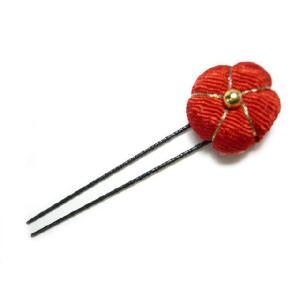 和風ちりめん髪飾り オニピン 紅小梅  着物にも洋服にも合う和小物がヘアーアクセサリーになってセンスアップ!|familiamia