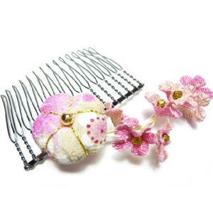 髪飾り 「梅小町」と小花 コーム 一越中|familiamia