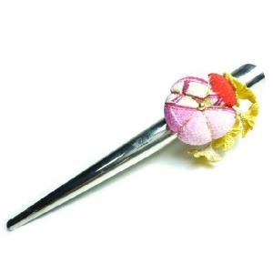 ちりめん髪飾り 「梅小町」と小花 くちばしクリップ 一越中|familiamia
