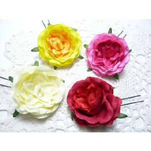 髪飾り オニピン シルキータッチの和風薔薇(1個) ヘアピン ヘアーアクセサリ- familiamia