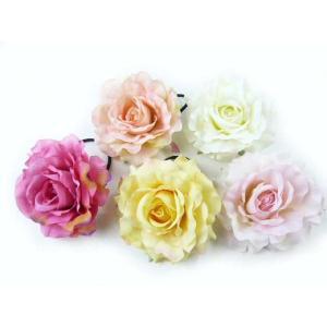 髪飾り バラの女王クイーンローズの大輪のポニー6582(1個) ヘアーアクセサリーにもなる手作りの造花 familiamia