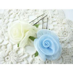 和風髪飾り オーガンジーの手作りの巻きバラのオニピン(1個) ヘアピン 造花- 着物にぴったり!シルキータッチのお花 familiamia