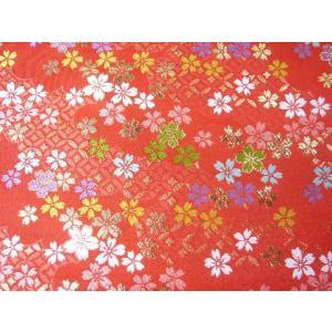 金襴 生地 桜散らしと七宝つなぎSS0273 赤(唐紅)(10cm) 和風 布 緞子|familiamia