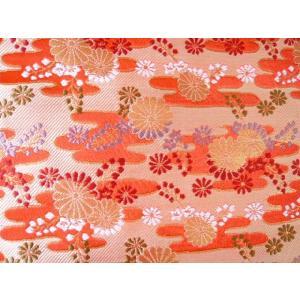 金襴 生地 豪華絢爛菜な菊雅 橙赤004-4(10cm) 和風 布 緞子|familiamia