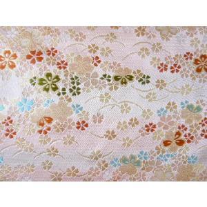 金襴 生地 豪華絢爛な花筏 ピンク004-12(10cm) 布 はぎれ 和風 緞子|familiamia