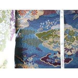 金襴 生地 豪華絢爛な霞菊松梅竹 紺004-21(10cm) 布 はぎれ 和風 緞子|familiamia