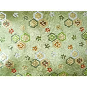 金襴 生地 豪華絢爛な亀甲 浅緑004-34(10cm) 布 はぎれ 和風 緞子|familiamia