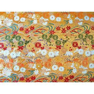 金襴 生地 豪華絢爛な流れ菊 紅葉金008-13(10cm) 布 はぎれ 和風 緞子|familiamia