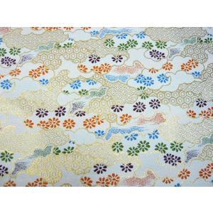 金襴 生地 霞に菊 青海波 亀甲 白 003-11(10cm) 布 はぎれ 和風 緞子|familiamia