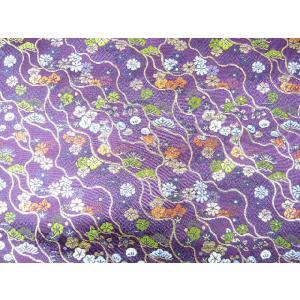 金襴 生地 流麗松と梅 赤紫 004-19(10cm) 布 はぎれ 和風 緞子|familiamia