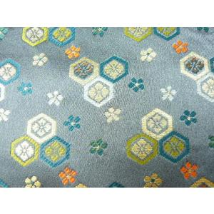 金襴 生地 豪華絢爛な亀甲消炭鼠004-40(10cm) 布 はぎれ 和風 緞子|familiamia