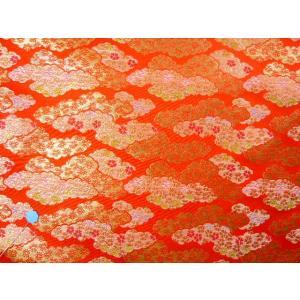金襴 生地 豪華絢爛な霞桜 朱赤 004-1(10cm) 布 はぎれ 和風 緞子|familiamia