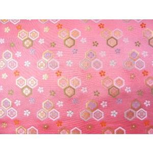 金襴 生地 豪華絢爛な亀甲 桃 004-31(10cm) 布 はぎれ 和風 緞子|familiamia