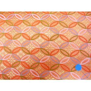 金襴 生地 豪華絢爛な花七宝 東雲色 004-10(10cm) 布 はぎれ 和風 緞子|familiamia