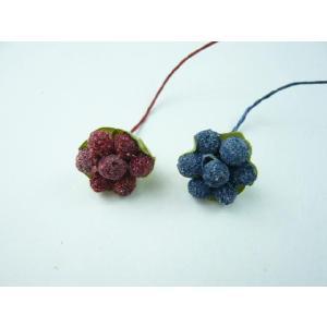 【処分品】実物 フルーツ きいちご 7粒 ガク付(1本) プレゼントやギフトに リーフとピンをつけてブローチに|familiamia