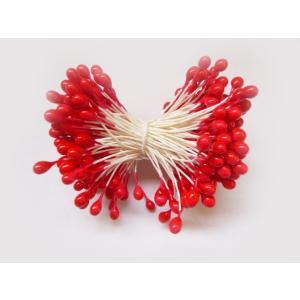 ペップ 花芯 花材 赤つや玉大4号(直径約4mm)(1束2グロス144本) めしべ おしべになる 手作り アートフラワー ラッピング 手芸材料|familiamia