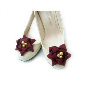 シュ−ズクリップ 靴飾り シューズアクセサリー 足もとを華やか シューアクセ パールの輝き リボンをつかった手作りシューズクリップ(1足分)|familiamia