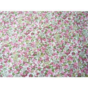 コットン生地 綿60ローンタンブラープリント ピンク 赤の花柄(10cm) グラニーバック ソーイング 洋裁|familiamia