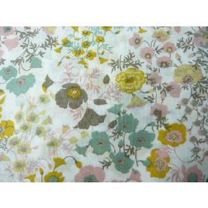 コットン生地 綿80ヴィンテージフィールプリント イエロー ピンク グレー ブラウンの花(10cm) グラニーバック 洋裁|familiamia