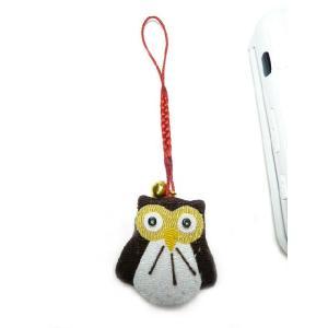 携帯ストラップ ちりめん 幸福の知恵フクロウ(前) 日本の縁起物 和小物|familiamia