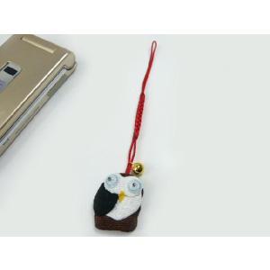 携帯ストラップ ちりめん 幸福の知恵フクロウ(横) 日本の縁起物 和小物|familiamia