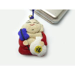 携帯ストラップ ちりめん 七福神布袋尊 日本の縁起物 和小物|familiamia