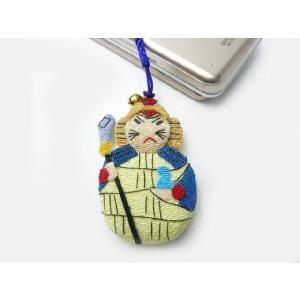 携帯ストラップ ちりめん 七福神毘沙門天 日本の縁起物 和小物|familiamia