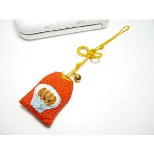 携帯ストラップ ちりめん お守り「成就カツ丼」 日本の縁起物 和小物|familiamia
