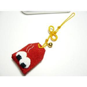 携帯ストラップ ちりめん細工 お守り「縁結びおにぎり」 日本の縁起物 和小物|familiamia