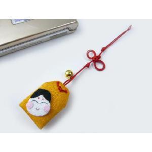 携帯ストラップ ちりめん細工 お守り「招福お福さん」 日本の縁起物 和小物|familiamia