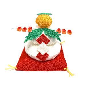 お正月飾り ちりめん細工 鏡餅(赤座布団付) 初春を祝う小さなインテリア雑貨|familiamia