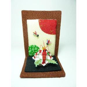 お正月飾り ちりめん細工 豪華な海老がのった鏡餅 初春を祝う小さなインテリア雑貨|familiamia