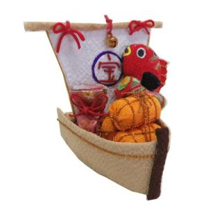 お正月飾り ちりめん細工 巾着 鼓 俵 鯛ののった宝船 和小物|familiamia
