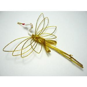 お正月飾り 水引細工 鶴中 3050-1 祝儀袋にも用いる伝統工芸 迎春飾り|familiamia