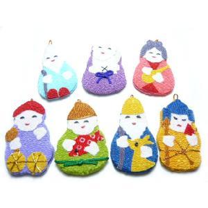 お正月飾り ちりめん細工 七福神 1個 和の伝統を楽しむお 伝統工芸 縁起物で新年を祝う|familiamia
