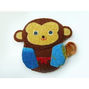 お正月飾り ちりめん細工 十二支 干支 モールのしっぽのまん丸お猿さん(1個)|familiamia