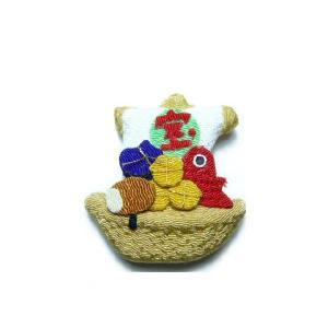 お正月飾り ちりめん細工 宝船 半立体 伝統の縁起物 和小物で華やかに新春を祝う|familiamia