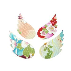 しおり ちりめん細工 天使の片翼 1枚 ちりめん素材のブックマーク|familiamia