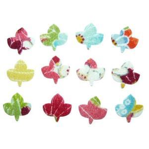 ちりめんシール 一越古代花柄 ミニシロモジの葉(10枚)|familiamia