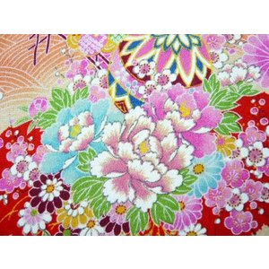 ちりめん 生地 一越 友禅 古代花柄赤HY06-A 10cm  髪飾りやつまみ細工に レーヨン 縮緬 はぎれ 和布|familiamia