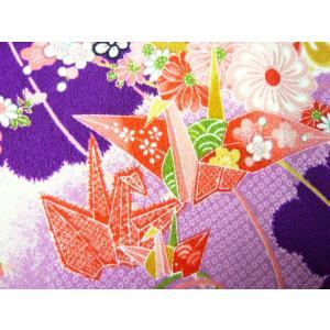 ちりめん 生地 一越 友禅  亀甲折鶴と鞠 紫紺(紫) HY05-B 10cm  髪飾りやつまみ細工に レーヨン 縮緬 はぎれ 和布|familiamia