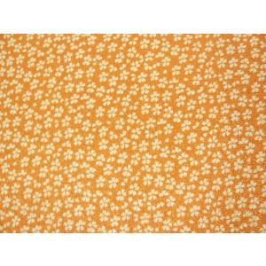ちりめん 生地 一越 友禅 小桜 オレンジN2-2 10cm  髪飾りやつまみ細工に レーヨン 縮緬 はぎれ 和布|familiamia
