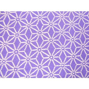ちりめん 生地 一越 友禅 麻の葉 中柄  紫N6-3 10cm  髪飾りやつまみ細工に レーヨン 縮緬 はぎれ 和布|familiamia