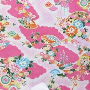 ちりめん生地 和布 古布 はぎれ 友禅一越ちりめん  扇と牡丹 菊と梅 HY16-C ピンク(10cm)|familiamia