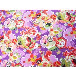ポリエステルちりめん 絢爛の手鞠と小槌に糸巻 ND8-B 京紫(10cm)|familiamia