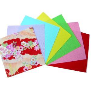 紙張り一越ちりめん無地と友禅7枚セット(16cm×16cm)7枚入 裏張り 折り紙 おりがみ オリガミ|familiamia