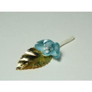 造花 フラワーブーケ 青いお花と白金の葉 花束になったプレゼント用ラッピングツール ギフト|familiamia