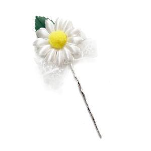造花 ギフト フラワーブーケ マーガレットリーフリボン付 花束になったラッピングツール&ケーキピック|familiamia
